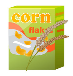 Corn flakes paper packaging isolated on white vector