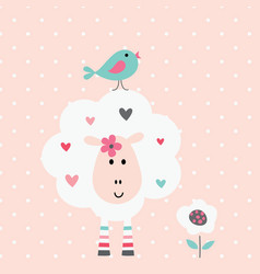 cute with funny sheep and bird vector image