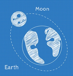 Earth and moon blueprint grid background graphing vector