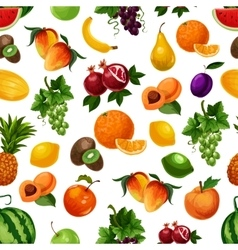 pattern of fresh fruits with leaves vector image vector image