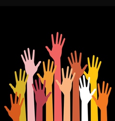 raised hands on black background vector image