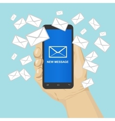 smartphone with many message envelopes vector image