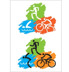 Triathlon grunge icons vector image vector image