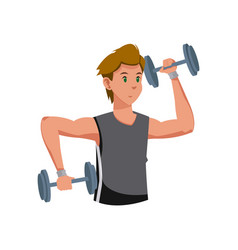 fitness man with barbell workout vector image vector image