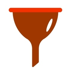 Red plastic funnel kitchen tool cone liquid vector image