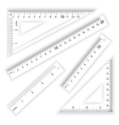 ruler and triangles centimeter and inch vector image