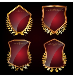 Set of shields with laurel wreaths vector image vector image