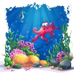 Underwater octopus coral and colorful reefs and vector image vector image