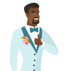 young african-american groom giving thumb up vector image vector image