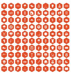 100 baseball icons hexagon orange vector
