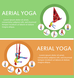 aerial yoga flyers with woman silhouette vector image