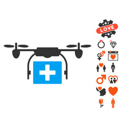 ambulance drone icon with love bonus vector image