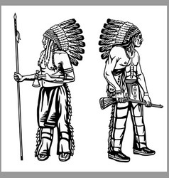 American indians set in monochrome style vector