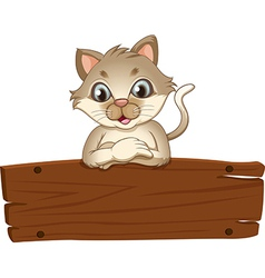 An empty wooden signboard with a cat vector
