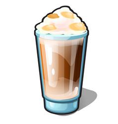 An iced coffee with caramel and whipped cream in a vector