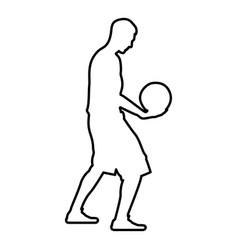 basketball player holding ball man holding vector image