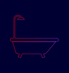 bathtub sign line icon with gradient from vector image