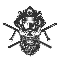 bearded and mustached policeman skull vector image