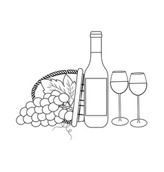 bottle of wine and grapes vector image