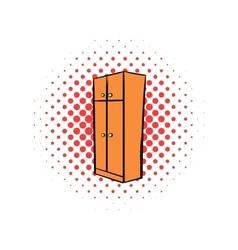 Brown wardrobe comics icon vector
