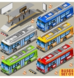 Bus Set 01 Vehicle Isometric vector