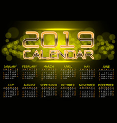 calendar 2019 gold light bokeh night vector image