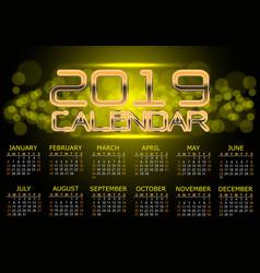 calendar 2019 gold light bokeh night vector image