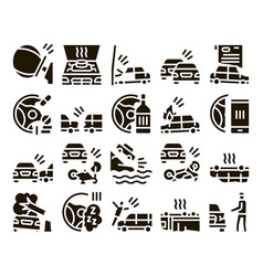 Car crash accident glyph set vector