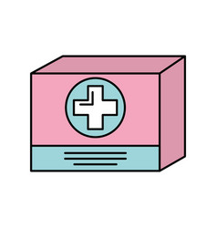 Cardboard box medicine equipment supply icon vector