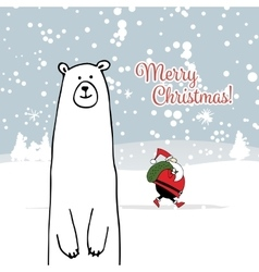 Christmas card with white santa and white bear vector