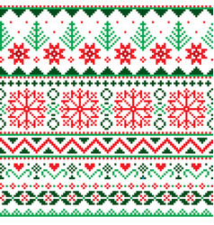 christmas fair isle style traditional pattern vector image