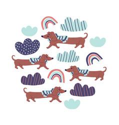 Circle - cute dachshund dogs rainbows vector