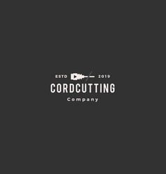 Cordcutting logo hipster tv cable icon vector