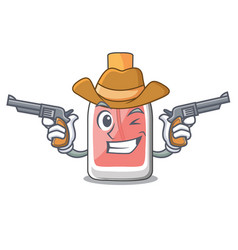 Cowboy perfume in the a cartoon bottle vector