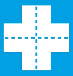 Crossroad icon white vector