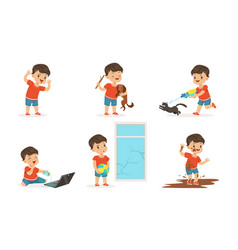 Cute bully boy in different situations set funny vector