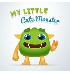 Cute Green alien beast character My little cute vector