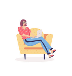 Cute young woman sitting on comfy chair vector
