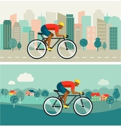 Cyclist riding on bicycle on city and countryside vector