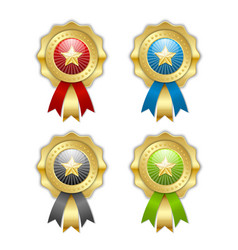 decorative golden top quality rosettes with star vector image