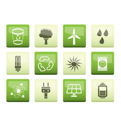 Ecology energy and nature icons vector