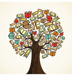 Education concept tree with books vector