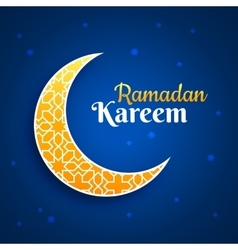 Eid Mubarak greeting card crescent moon on blue vector