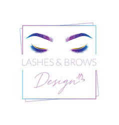 Eyelashes and eyebrows make up design logo vector