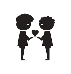Flat icon in black and white friendship of Peoples vector