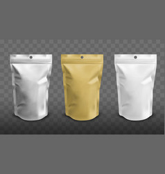 Foil pouch with zipper doypack for food vector