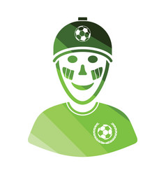 football fan with painted face by italian flags vector image