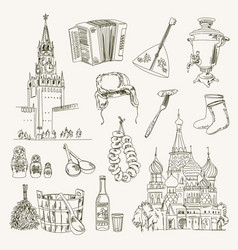 Freehand drawing russia items vector