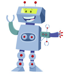 funny robot cartoon comic character vector image