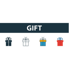 gift icon set four elements in diferent styles vector image